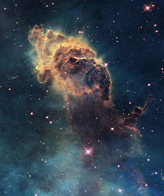 Young Stars Flare In The Carina Nebula Print by Nasa/Esa
