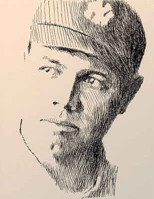 Baseball Drawing - Young Sultan Of Swat by Robbi  Musser