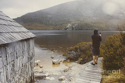 Young Tasmanian Hiking Tourist Taking Lake Photo Art Print