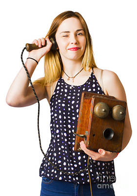 Art Print featuring the photograph Young Telephonist Phoning Using Old Vintage Phone by Jorgo Photography - Wall Art Gallery
