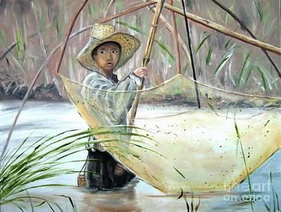 Thai Artist Artists Painting - Young Thai Boy Net Fishing by Derek Rutt