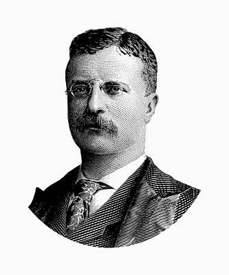 Digital Art - Young Theodore Roosevelt Graphic - Black And White by War Is Hell Store