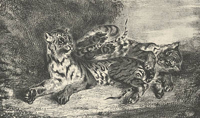 Relief - Young Tiger Playing With Its Mother by Eugene Delacroix