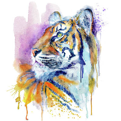 Mixed Media - Young Tiger Portrait by Marian Voicu