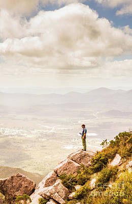 Lifestyle Photograph - Young Traveler Looking At Mountain Landscape by Jorgo Photography - Wall Art Gallery