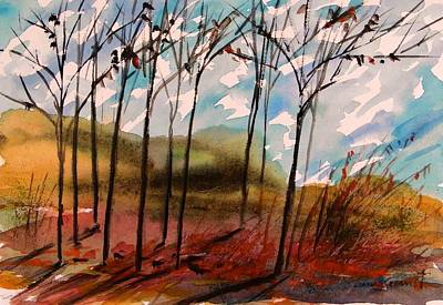 Freeform Drawing - Young Trees Moving Sky by John Williams