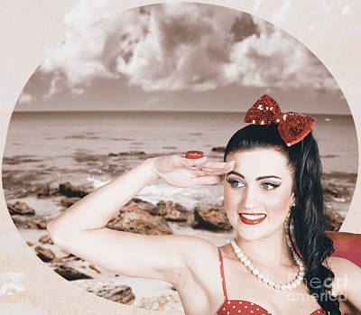 Vintage Pinup Photograph - Young Vintage Styled Female Wearing Retro Swimwear by Jorgo Photography - Wall Art Gallery