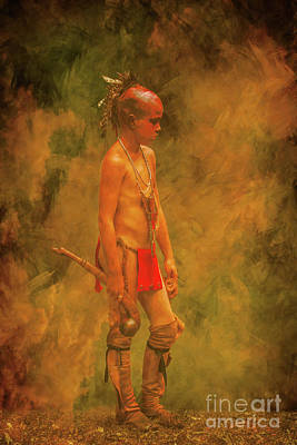 Young Warrior With Warclub Art Print by Randy Steele