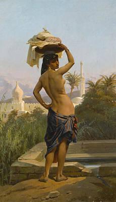 Giraud Painting - Young Washerwoman  by Eugene Giraud