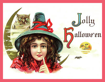 Moon Mixed Media - Young Witch Girl, Jolly Halloween by Long Shot