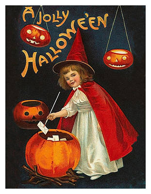Pumpkin Art Card Mixed Media - Young Witch Girl With Letters by Long Shot