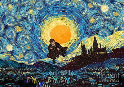 Digital Art - Young Wizard At Starry Night by Three Second
