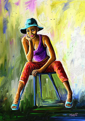 Painting - Young Woman by Anthony Mwangi