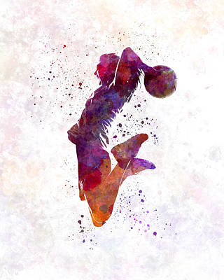Young Woman Basketball Player 01 In Watercolor Art Print