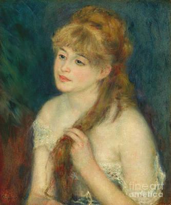 1876 Digital Art - Young Woman Braiding Her Hair - Auguste Renoir by Pod Artist