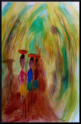 Young Woman Carry Cassava Art Print