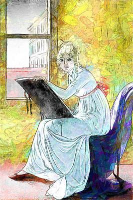 Digital Art - Young Woman Drawing by John Haldane