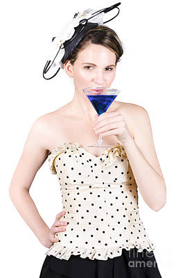 Strapless Photograph - Young Woman Drinking Alcoholic Beverage by Jorgo Photography - Wall Art Gallery