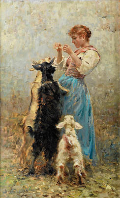 Vincenzo Caprile Painting - Young Woman Feeding Goats by Vincenzo Caprile
