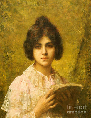 Library Painting - Young Woman Holding A Book by Alexei Alexevich Harlamoff