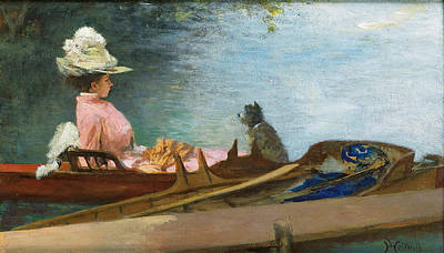 Painting - Young Woman In A Boat With Her Dog by Ferdinand Heilbuth