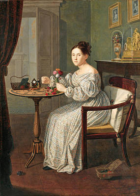 Giuseppe Patania Painting - Young Woman In A Room by Giuseppe Patania