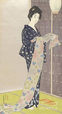 Concubine Painting - Young Woman In A Summer Kimono, 1920 by Goyo Hashiguchi