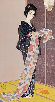 Colored Woman Art Drawing - Young Woman In A Summer Kimono by Goyo Hashiguchi
