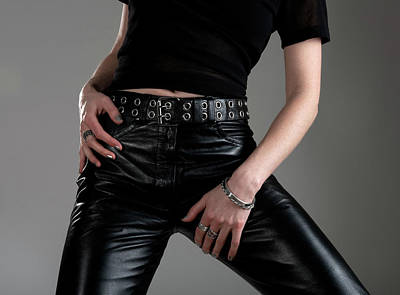 Young Woman Photograph - Young Woman In Black Leather Pants by GoodMood Art