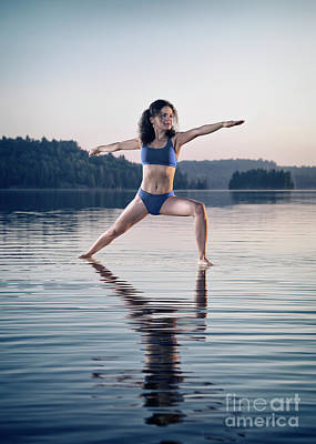 Woman Practicing Yoga Photograph - Young Woman In Blue Swimsuit Practicing Yoga On The Water Veerab by Awen Fine Art Prints