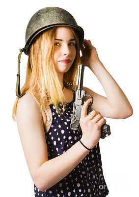 Looking At Camera Photograph - Young Woman In Helmet Holding Old Vintage Gun by Jorgo Photography - Wall Art Gallery