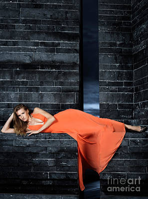 Young Woman In Long Orange Dress Art Print by Oleksiy Maksymenko