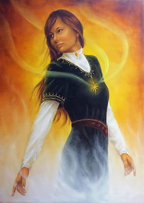 Radiating Chakra Painting - Young Woman In Medieval Clothing With Rays Of Light Coming From Her Heart. With White Flames. On Ora by Jozef Klopacka