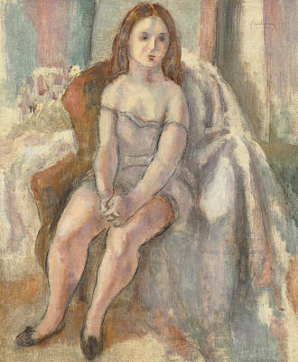 Young Woman In White Chemise Art Print by Jules Pascin
