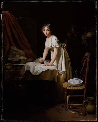 Young Woman Ironing Art Print
