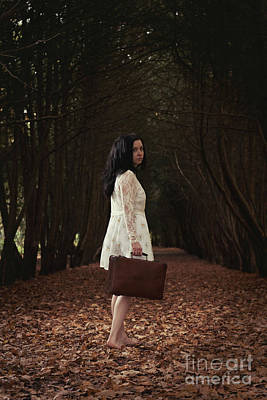 Look Back Photograph - Young Woman Looking Back by Amanda Elwell
