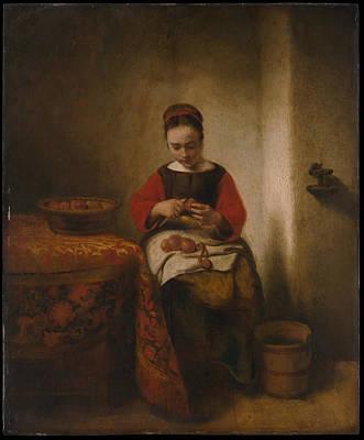 Young Woman Peeling Apples Art Print