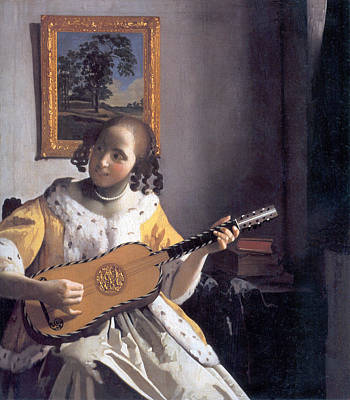 Painting - Young Woman Playing A Guitar by Johannes Vermeer
