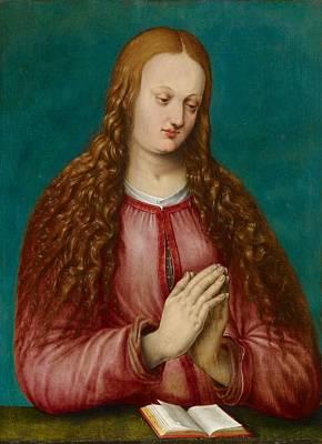 Woman Praying Painting - Young Woman Praying by MotionAge Designs