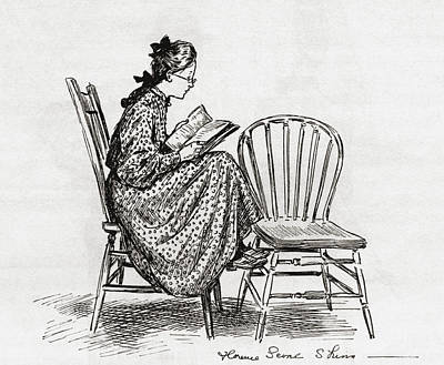 Young Woman Reading In The Nineteenth Art Print by Vintage Design Pics