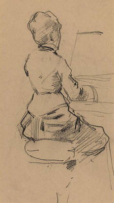 Pastel Drawing Drawing - Young Woman Seated At A Piano by Jean Louis Forain