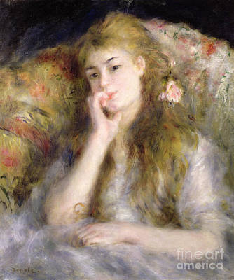 Alone Painting - Young Woman Seated by Pierre Auguste Renoir