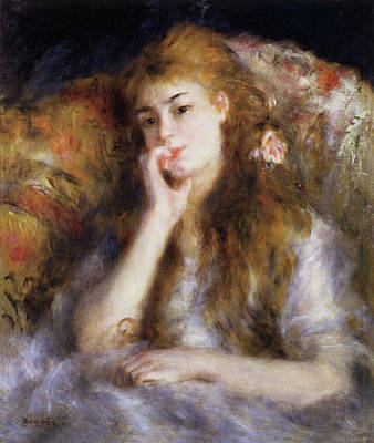 Woman Portrait Painting - Young Woman Seated, The Thinker by Pierre-Auguste Renoir