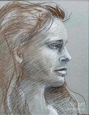 Drawing - Young Woman Side Profile by Barbara Oertli