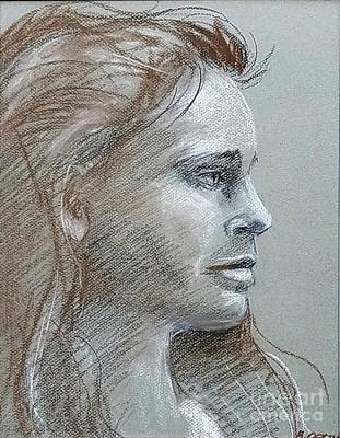Drawing - Young Woman Side Profile by Barbara Oertli