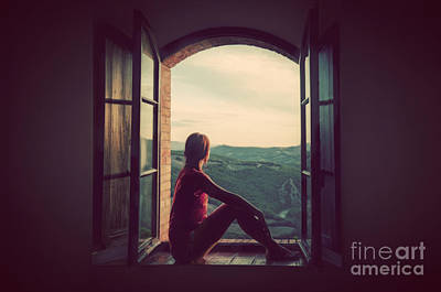 Thoughtful Photograph - Young Woman Sitting In An Open Old Window Looking On The Landscape Of Tuscany by Michal Bednarek