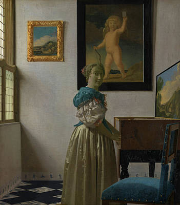 Johannes Vermeer Wall Art - Painting - Young Woman Standing At A Virginal by Johannes Vermeer