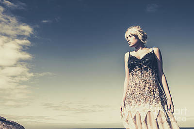 Feminine Photograph - Young Woman Standing On The Beach by Jorgo Photography - Wall Art Gallery