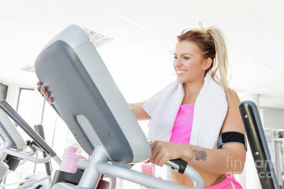Muscular Photograph - Young Woman Starts Treadmill Running. by Michal Bednarek