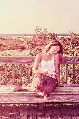 Photograph - Young Woman Texting On Cell Phone Outside by Alexander Image